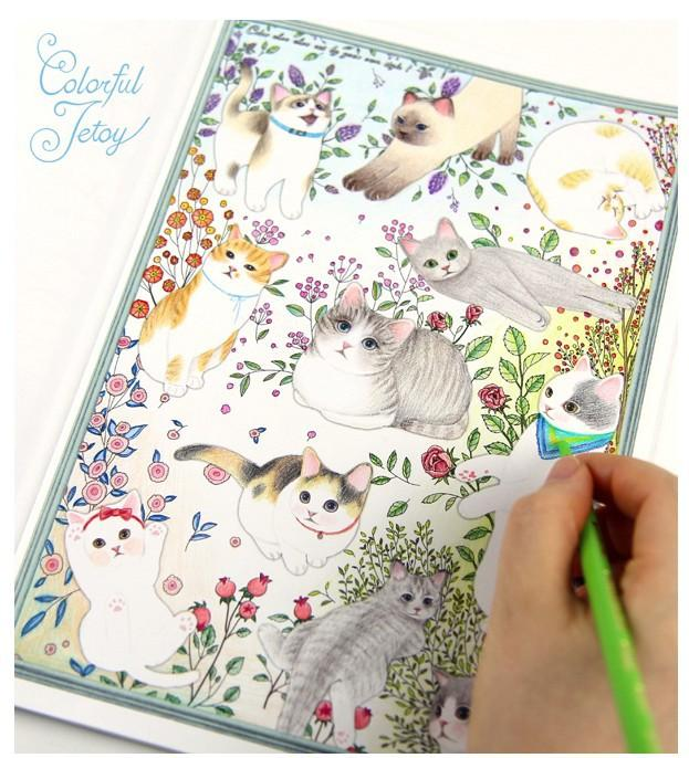 80pages40sheets Cute Cartoon Cat Coloring Book For Relieving Stress Kill Time Graffiti Painting Drawing 80pages Books Kids Boys Colouring