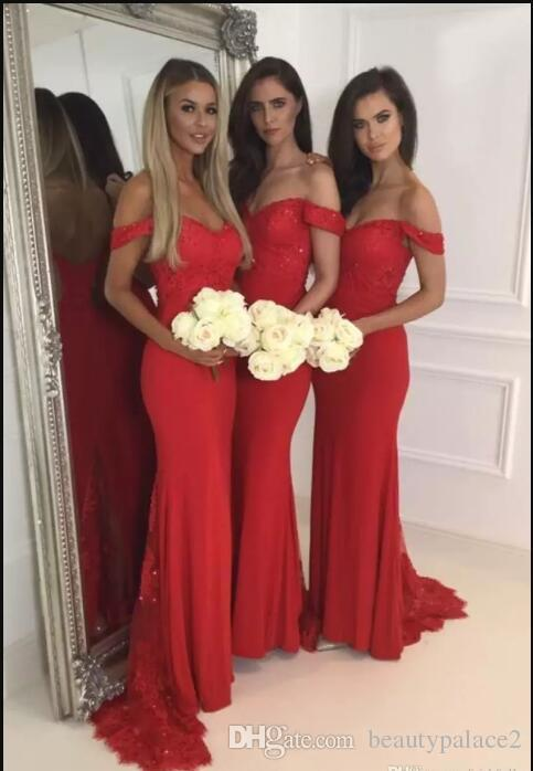 Red Lace Bridesmaid Dress Off the Shoulder Bridesmaid Gowns Sweep Train Maid of Honor Dresses Custom Made