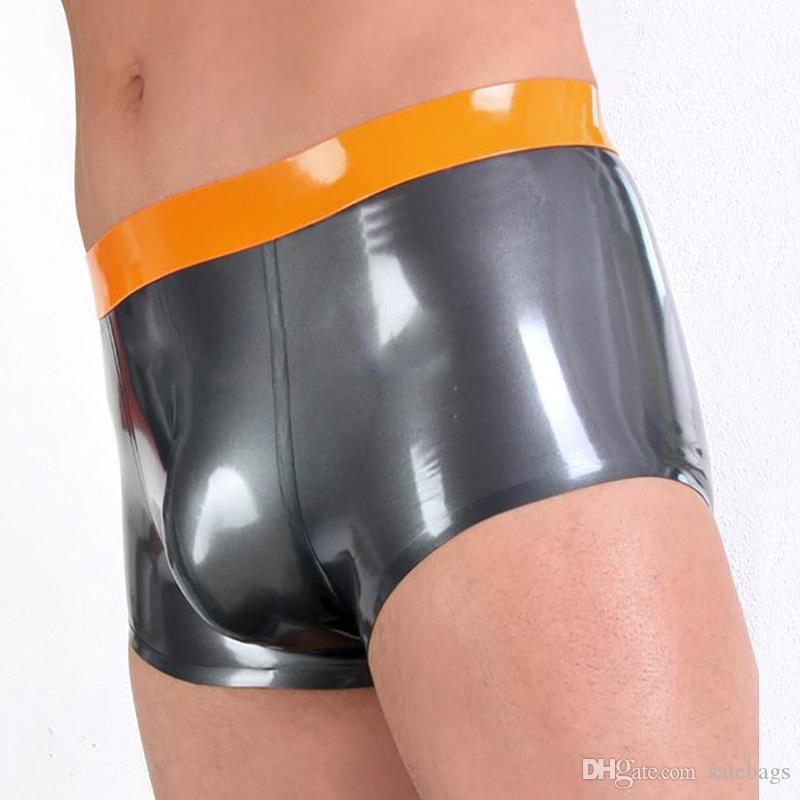 Wholesale Men Latex Rubber Boxer Briefs Sexy Bulge Pouch