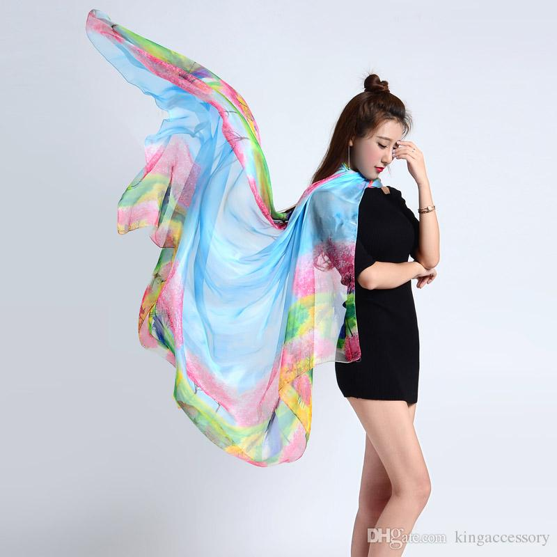 Vintage Women Tree Designer Silk Scarf Echarpes Foulards Femme Long Soft Chiffon Bufanda Adult Spring and Autumn Cape Poncho
