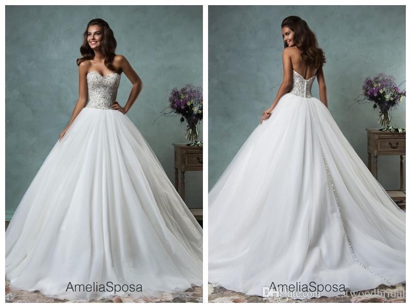 2018 Wedding Dress Amelia Sposa Lauretta Lace Ball Gown Wedding Dresses Bridal Gowns Vestido De Novia Sweetheart Crystal Backless Beaded
