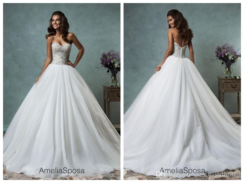 2019 Wedding Dress Amelia Sposa Lauretta Lace Ball Gown Wedding Dresses Bridal Gowns Vestido De Novia Sweetheart Crystal Backless Beaded