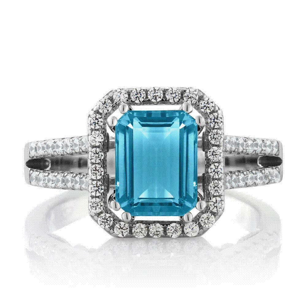Gemstoneking 278 Ct Emerald Cut Natural Blue Topaz Wedding Bands Nbsp925 Sterling Silver Engagement Rings For Women Ring From: Cat Maid Wedding Ring At Websimilar.org