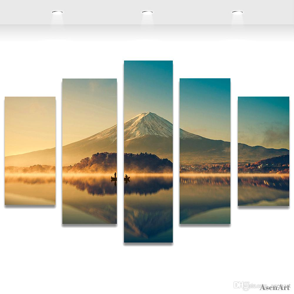 Wall Art Painting Volcano Lake Landscape Painting Sunset Scenery Canvas Print Picture for Living Room Unframed