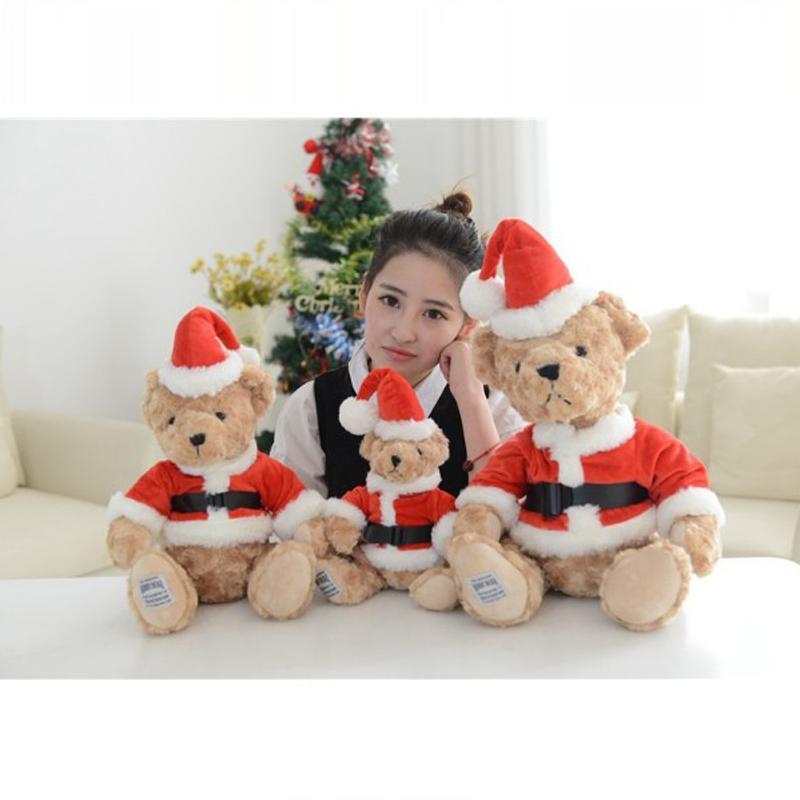 25cm Christmas Teddy Bear Plush Toys Stuffed Teddy Bear Gifts for Kids Girlfriends Christmas Kawaii Plush Toys