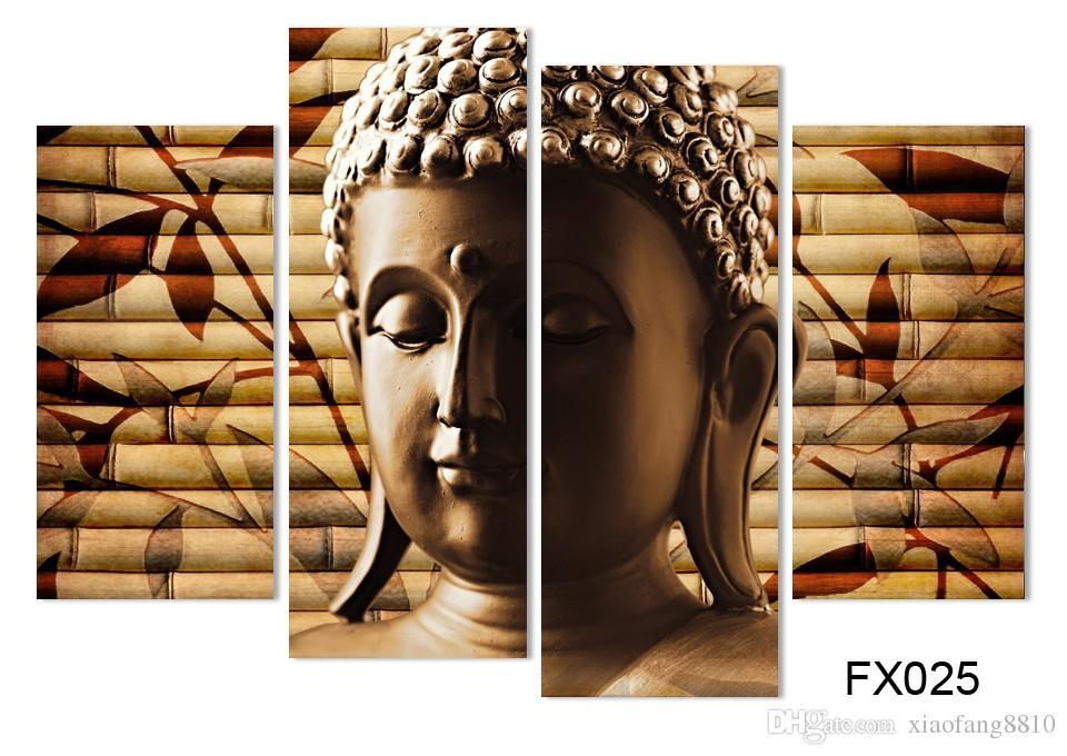Pintura da lona de alta qualidade pintados à mão pintura artes Religião Buda 4 Painel Wall óleo sobre tela Unframed