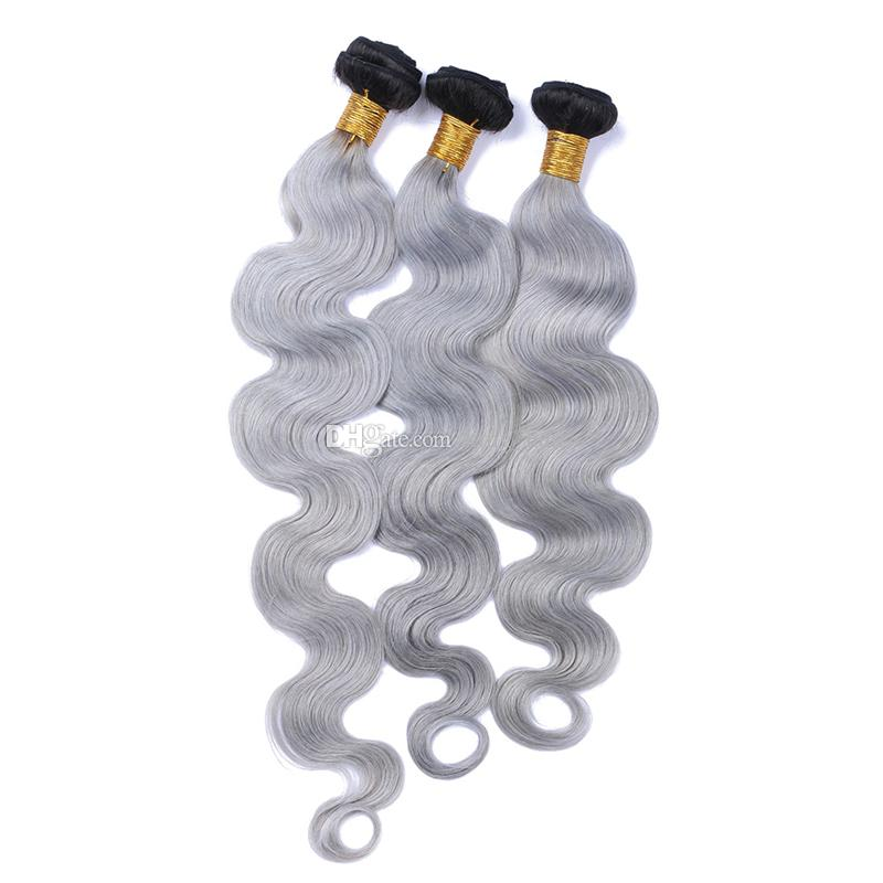 New Arrival #1B Grey Ombre Wavy Human Hair Bundles 9A Brazilian Silver Grey Ombre Body Wave Hair Weave Weft Extensions
