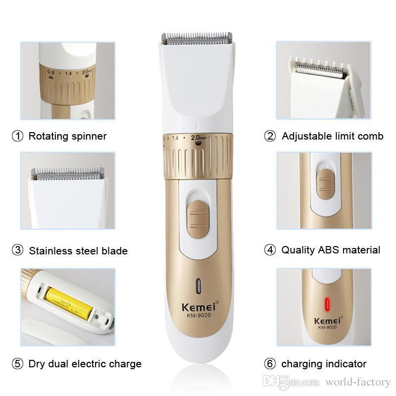 Оригинал Kemei км-9020 электрическая борода волос триммеры электрическая машинка для стрижки волос триммер аккумуляторная лезвие из нержавеющей стали с коробкой США ЕС PLUG