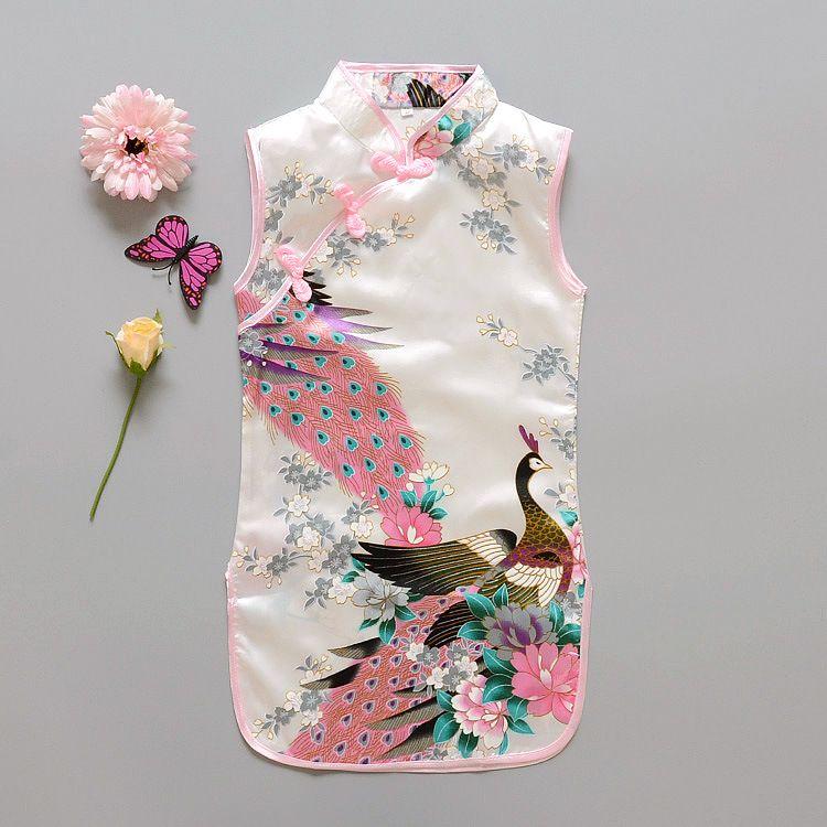 الأزياء الصينية نمط الفتيات اللباس أحدث زهرة الطيور القطن ملابس الأطفال كيد تشيباو اللباس خمر ملابس الطفل الأزياء زهرة الطاووس