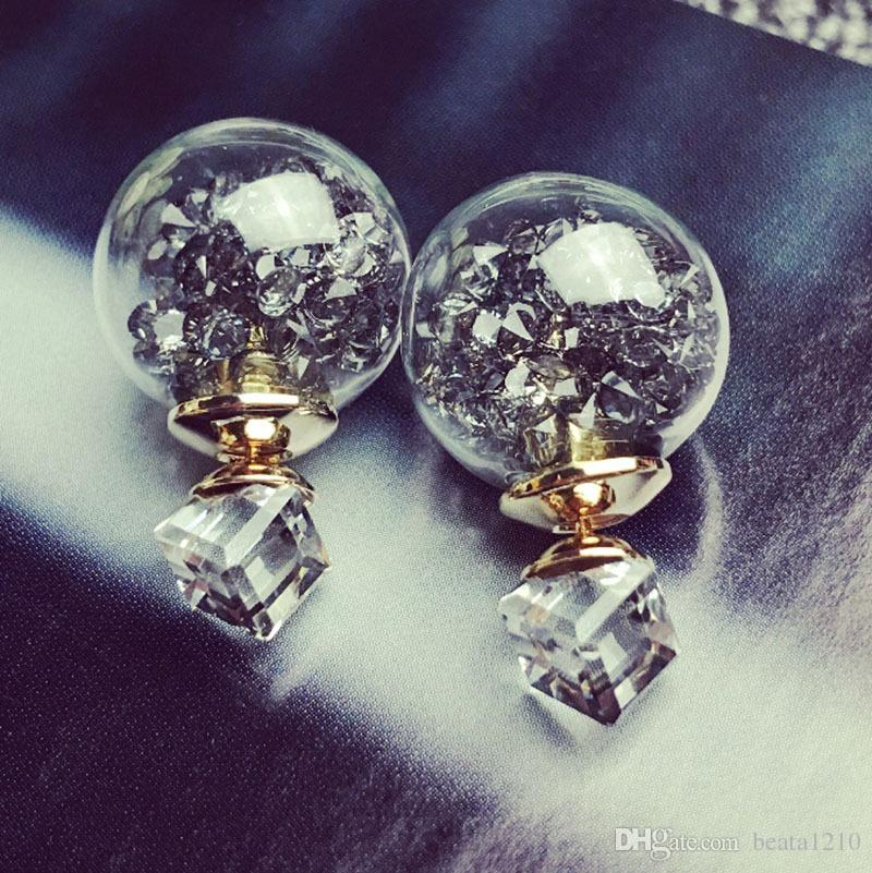 2018 Stud Earrings for Women Rhinestone Ear Rings Gift Ideas Crystal Fashion Diamond-jewelry Valentine's Day Earring Studs Korean