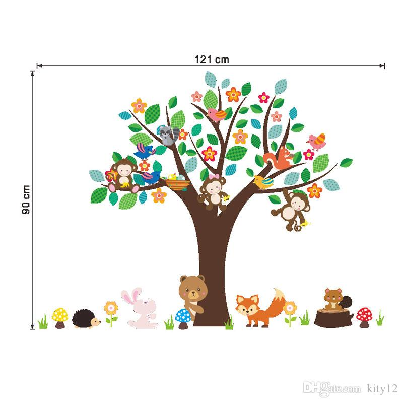 Jungle Animals Tree Monkey Bear Removable Wall Decal Stickers Muraux Nursery Room Decor Wall Stickers for Kids Rooms