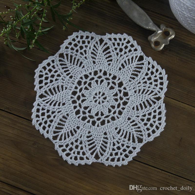 beaucoup de 14 Main Crochet napperon blanc Beige Coton 7 « -8 » serviette de table pour Tapis / Tapis décoratif Accueil mariage