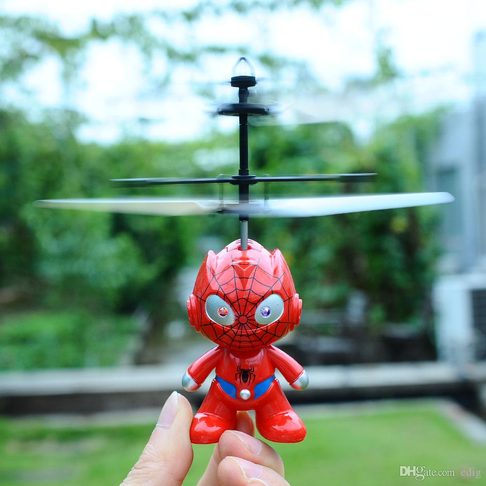 Small Mini RC Spider Man Aircraft Flying Induction Helicopter Charging Kid Toys Gift