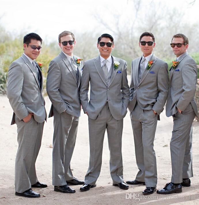 Slim Fit Light Grey Groomsmen Suits One Button Peak Lapel Wedding ...