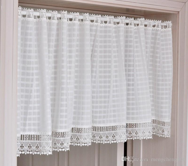 Classic White Coffee Lattice Half Curtain Curtain Curtain Cupboard Curtain  Cabinet Curtain Tiny Short Soluble Lace Curtains