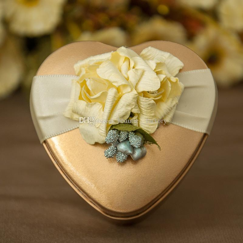 Metal Tin Heart Candy Boxes Flower Ribbon Wedding Favor Party Chocolate Box Unique and Beautiful Design