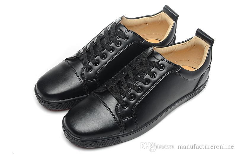 Novas Mulheres Dos Homens Sapatilhas Designer de Marca Unisex Red Bottom Sapatos de Grife Preto Flats de Couro Genuíno Chaussures Hommes Tamanho 36-46
