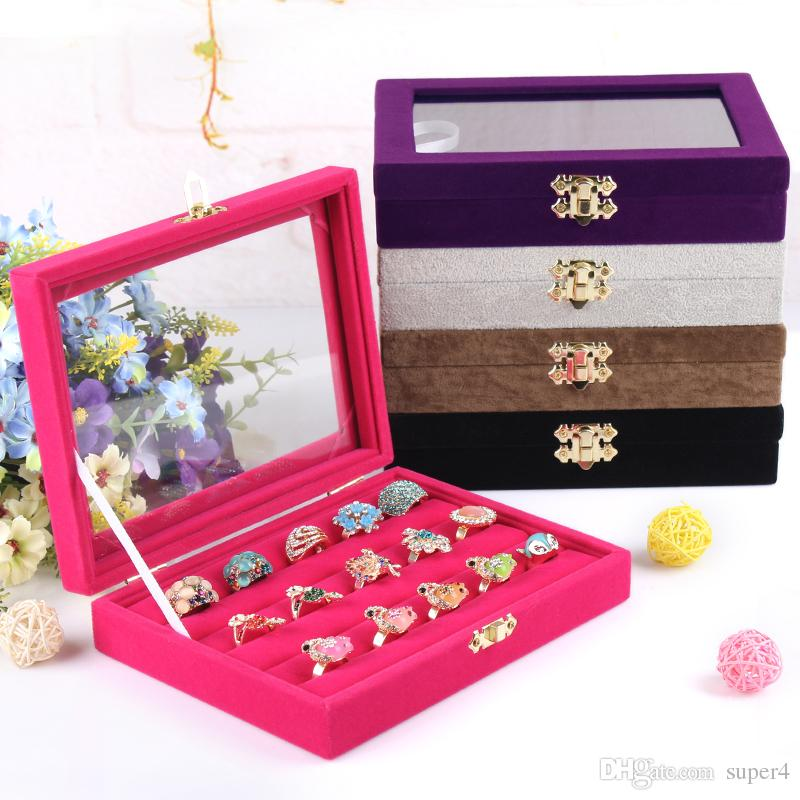 Best Small Ring Jewelry Box Glass Cover Ring Storage Box Stud