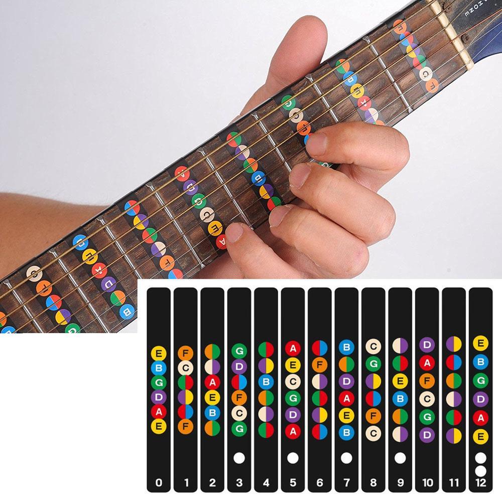 guitar fretboard notes map labels sticker fingerboard fret decals for 6 string acoustic electric. Black Bedroom Furniture Sets. Home Design Ideas