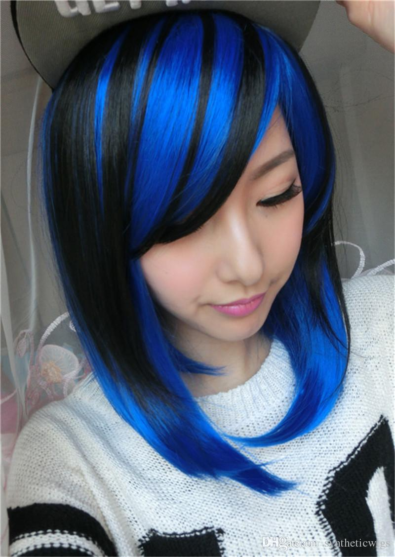 Woodffestival Short Straight Hair Wigs Black Mix Blue Wig Cosplay