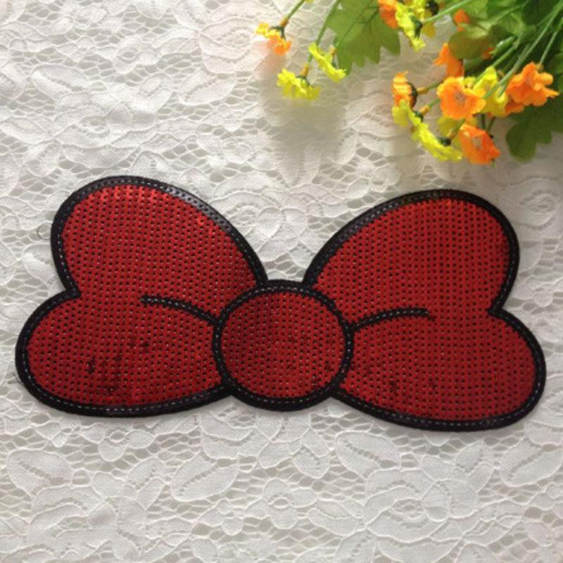 Red Bowknot Sequin Patch Embroidery Patches For Clothes Kids Blouse