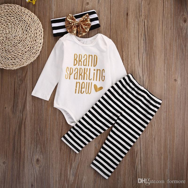 Xms Baby Kids Girl Clothing Set Christmas Pajamas Boutique Clothes Toddler Outfit Bodysuit Romper Set Long Sleeve Onesies+Striped Pants