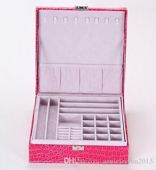 26.3 * 26.3 * 9cm Cuir Princesse européenne Double Couches Ensembles de bijoux Boîte de rangement Divers Produits de beauté Bijoux Organisateur Boîte / Etui / Bacs / Armoires