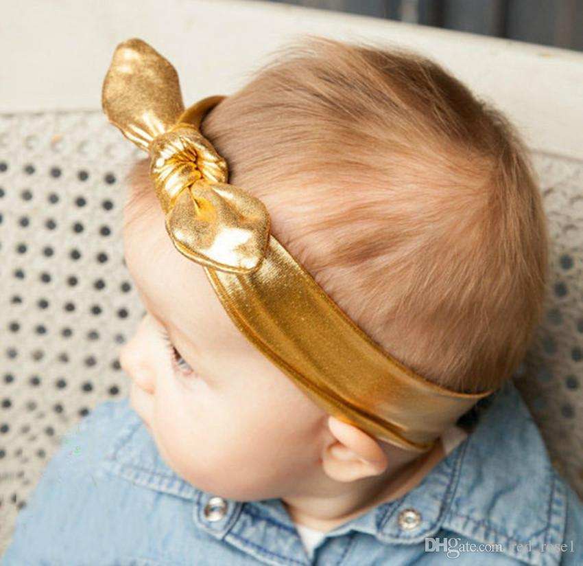 i Baby Girls Bambini Gilding Colore Pure Colore Coniglio Orecchie Primavera Party Fandbands Moda Scegliere Faccina bambini Accessori capelli bambini