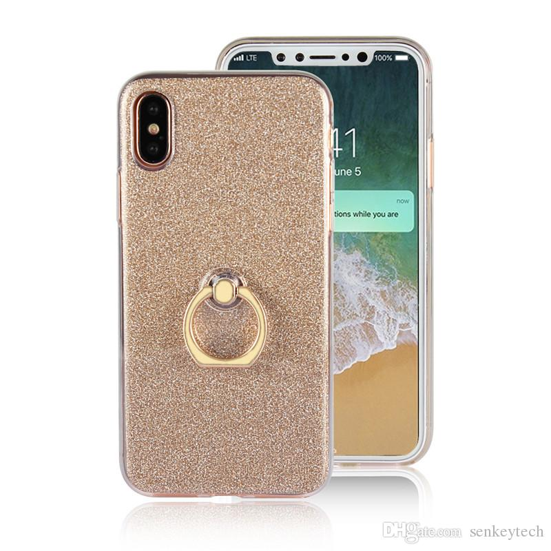 Glitter Bling Case For Iphone 8 7 6plus Case Cover With Ring Holder Soft TPU Cover Coque For Samsung S8 S7 S6 edge Phone Back Case