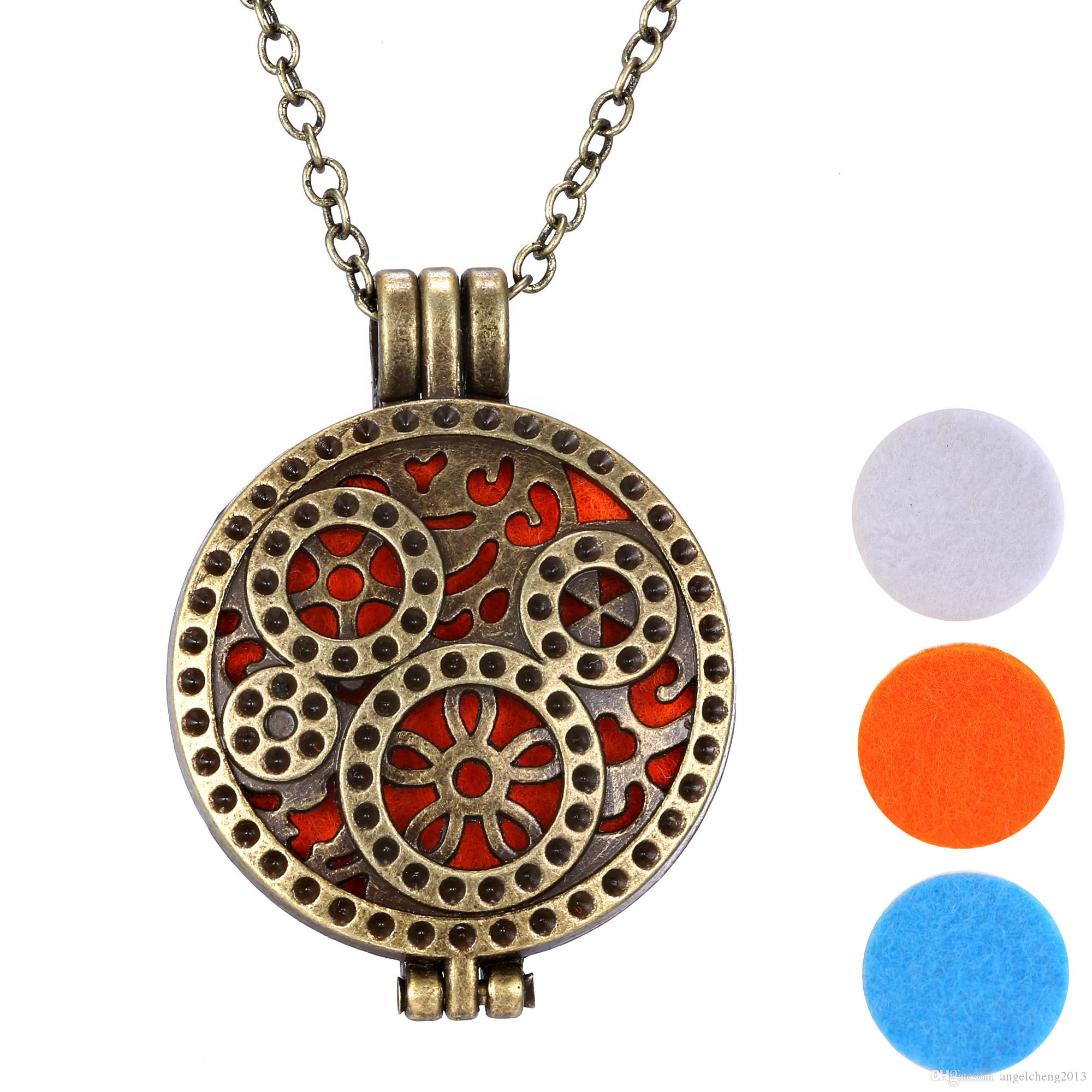 oil necklacchain pendant copper pad essential vintage product style jewelry store aromatherapy material diffuser locket necklace ful