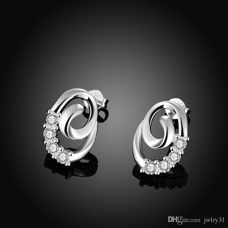 Carino signora gioielli placcato in argento massiccio 925 sterling Swarovski Elements scintillanti orecchini con diamante CZ i monili delle donne