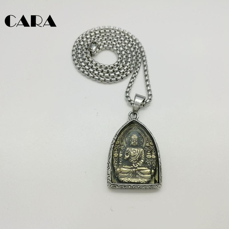 CARA 2017 NEW Statement Necklace Vintage Buddha Pendant Buddhist Necklace Buddha Religious 316L stainless steel necklace Jewelry CAGF0313