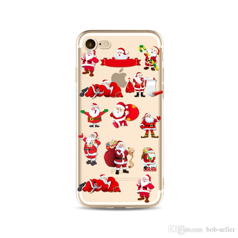 For apple iphone x iphone 8 7 plus iphone 6S Transparent TPU case box Christmas painted Merry Christmas gift cell phone cases