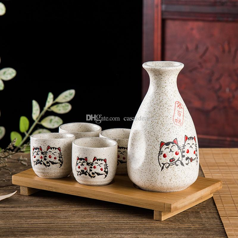 Japanese Sake Set Fortune Cat Maneki Neko White Glazed Ceramic Sake