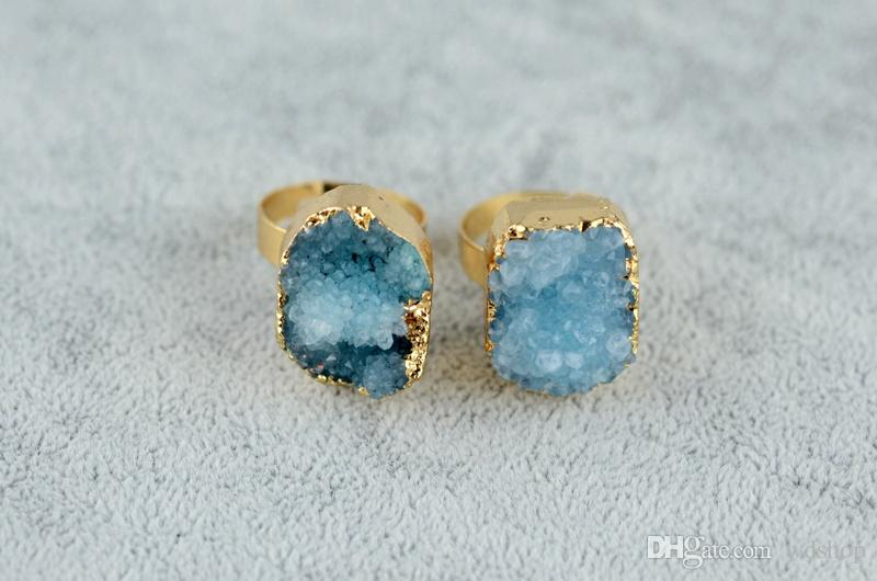 Adjustable Druzy Drusy Ring Nature Quartz Crystal Gem Stone Finger Rings Gold Plated Edge Jewelry Rings