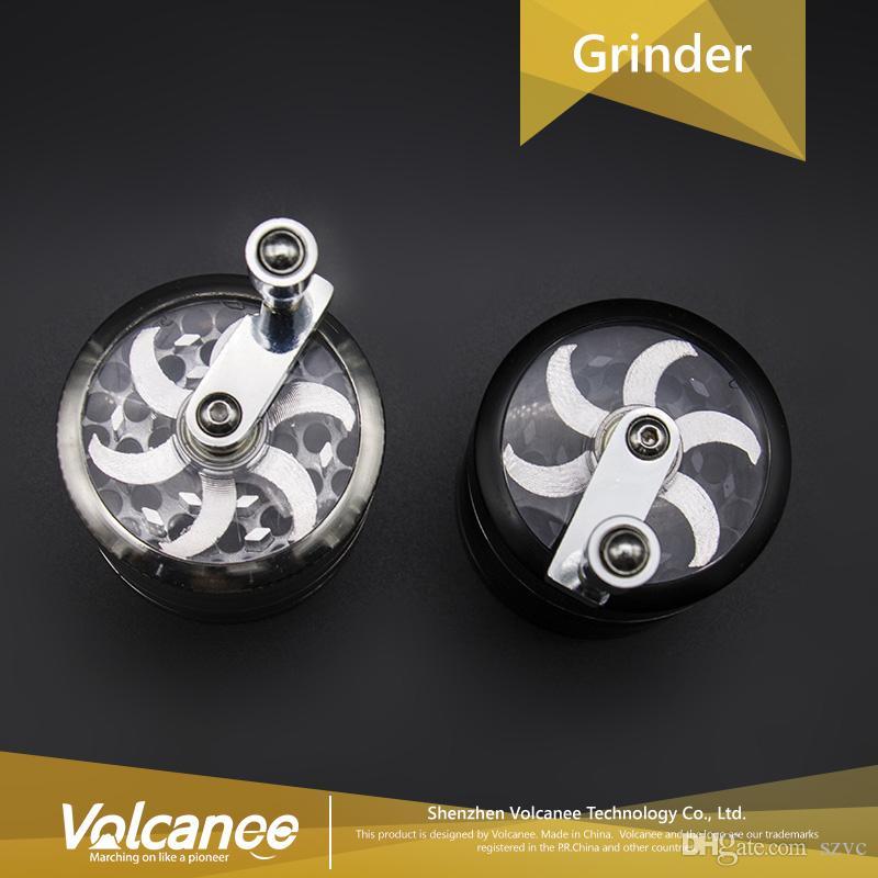 hand crank herb grinder herbal grinders 55mm 4 layers Zicn alloy hand crank grinders metal grinders for dry herb grinder