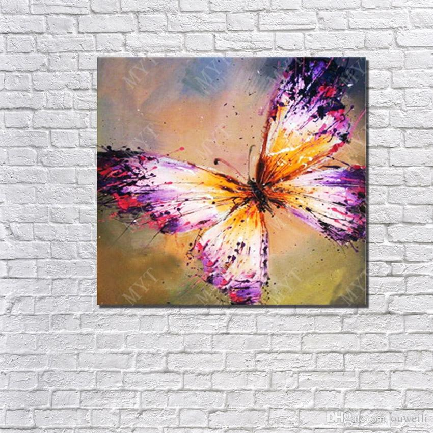 Hand Painted 2016 Promotional Cheap Price Wall Art Home Decorations Nice Design Beautiful Butterfly Oil Painting For Living Room