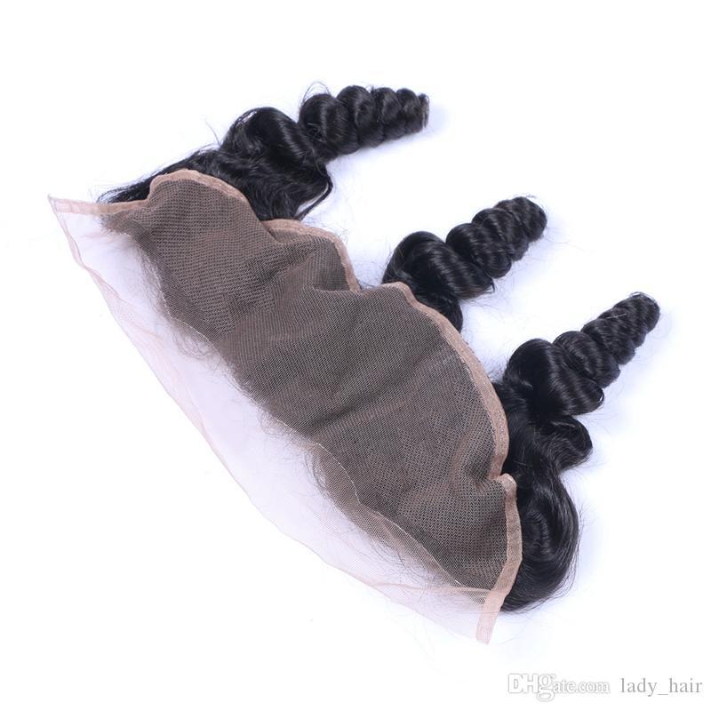 Lose Welle 13x4 Ohr zu Ohr volle Spitze Fontals mit dem Baby-Haar preiswerte Jungfrau-Peruaner Remy-Menschenhaar-Spitze-frontale Schließung gebleichte Knoten