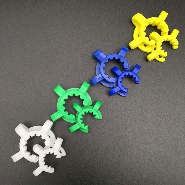 Fumer accessoires 14mm 18mm Plastique KECK CLIP Pince de laboratoire de laboratoire pour l'adaptateur de verre Tuyaux d'eau Vert Blanc Bleu Jaune Quatre couleurs Fit Tuyau