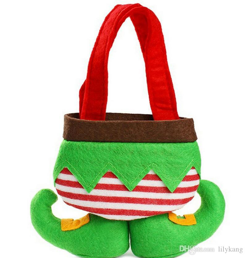 2016 Christmas Gifts Bag Elf Santa Pants Style Candy Sugars Bags Demon Bags Xmas Cotton Bag for Children Kids Party Decoration Supplies