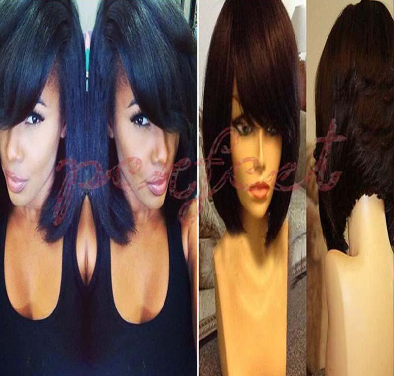 parrucche glueless piena del merletto parrucche diritte del bob dei capelli umani delle parrucche diritte del merletto di seta diritta corte le donne di colore