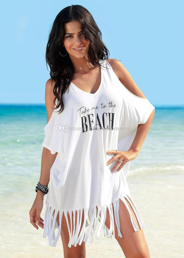 edce9804185 2019 Women Letter Print T Shirt Dress Swimwear Beach Bikini Tassel Cover  Ups Summer Sexy Holiday Swimsuit Loose Sunscreen Shirts Beachwear Blouse  From ...