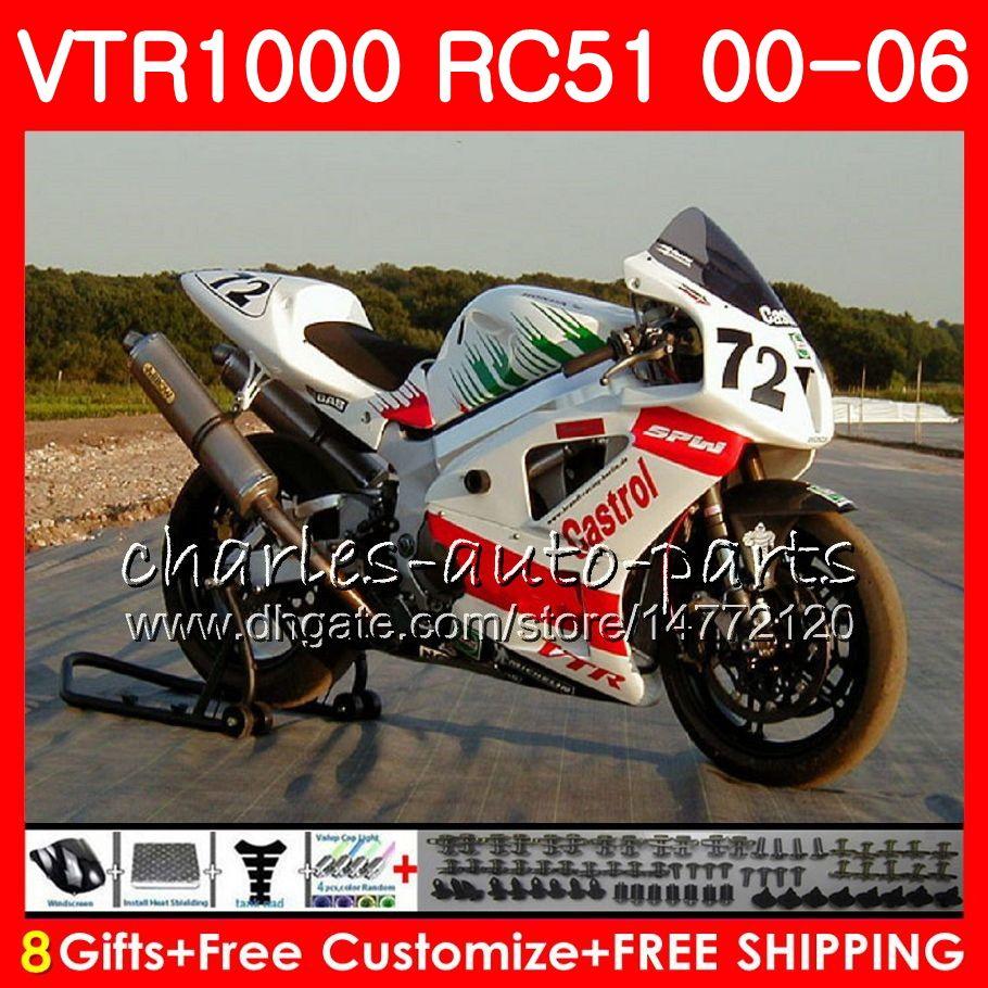 Body For HONDA RTV1000 VTR TOP New black 1000 00 01 02 03 04 05 06 92NO50 VTR1000 RC51 SP1 SP2 00 2000 2001 2002 2003 2004 2005 2006 Fairing