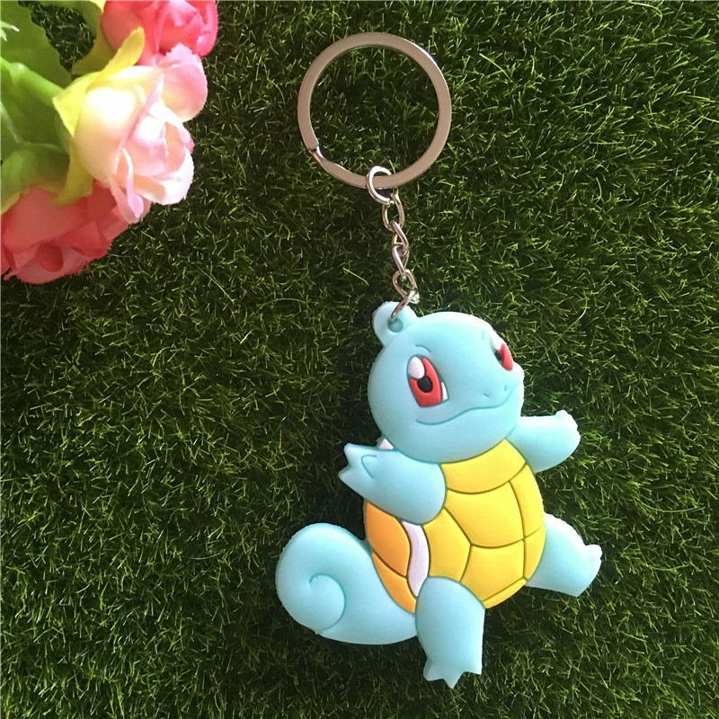 15 tip Pocket Canavar anahtarlık Poke mon Silikon Squirtle Charizard Eevee Pikachu Poke Ball Anahtarlık her iki tarafı Figür anahtarlık 170587