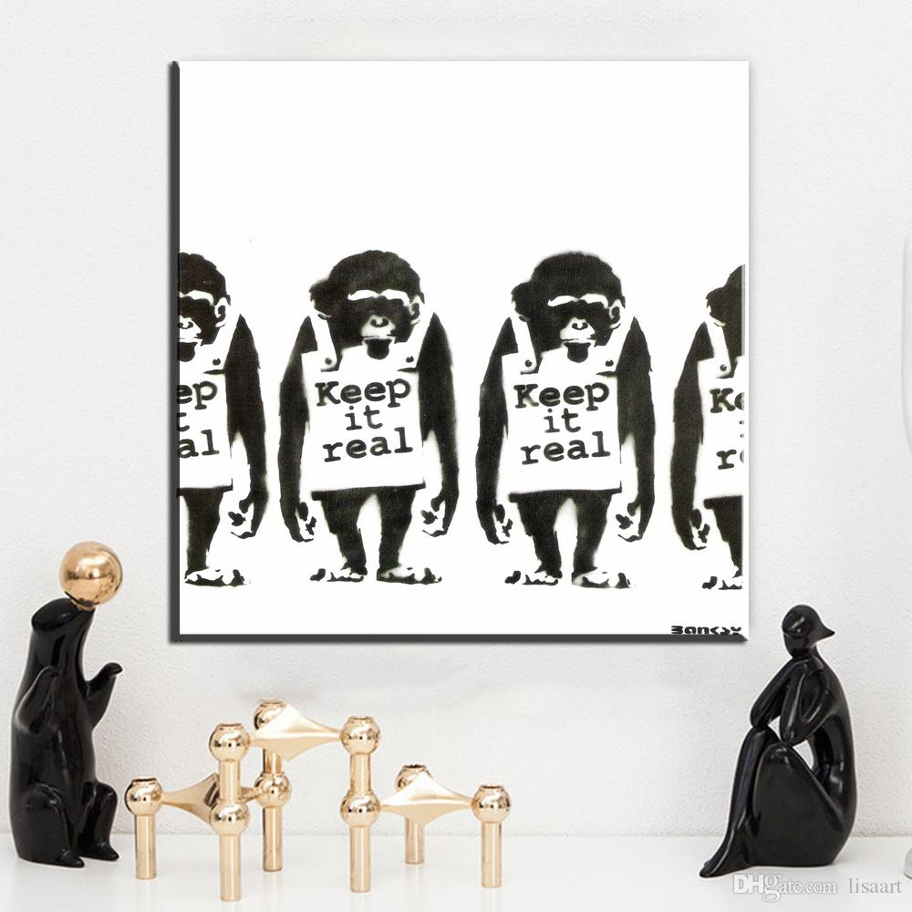 ZZ05 black white canvas wall art garffiti monkey banksy canvas pictures oil art painting for livingroom bedroom decoration print