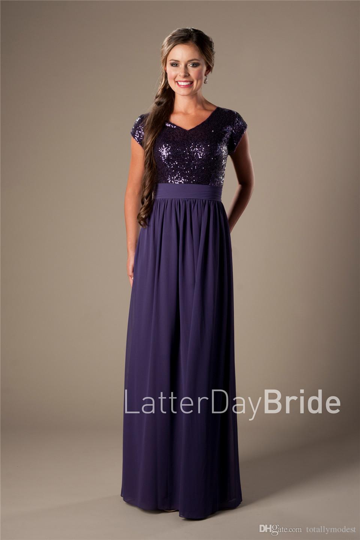 Purple Sequins Chiffon Long Bridesmaid Dresses Modest Cap Sleeve V neck Simple A-line Beach Rustic Formal Wedding Party Dresses Floor Length