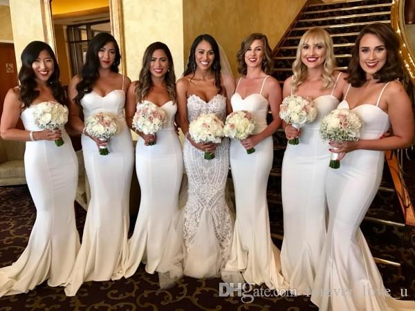 Elegante Sereia Marfim Damas De Honra Vestidos Querida Spaghetti Straps Simples Equipado Dama De Honra Vestido para Casamentos Wedding Guest Wear