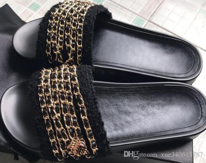 zapatos reales! Tamaño grande 40 41 42 cadena de cuero genuino, sandalias planas, de lujo, para mujer de diseño, playa al aire libre, sandalias de goma causales