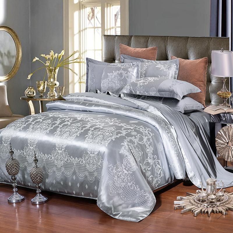 Home Textile Stain Jacquard Bedding Set Gray