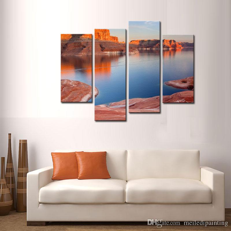 Modern Canvas Painting For Home Lake And Canyon At The Grand Canyon Landscape Canyon Print On Canvas with Wooden Framed